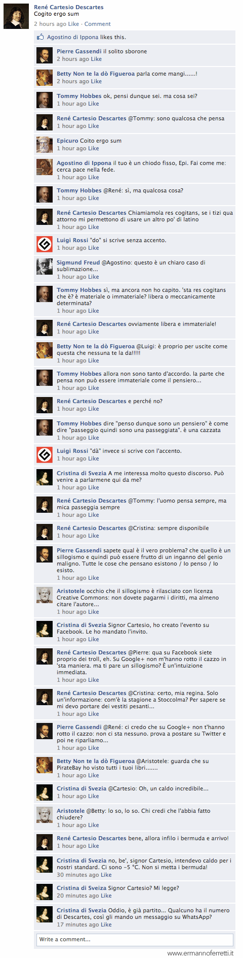 Cartesio annuncia il suo cogito ergo sum su Facebook
