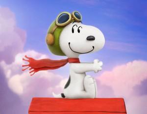 Snoopy sulla sua cuccia volante